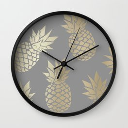 Pineapple Art, Gray and Gold Wall Clock