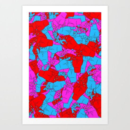 Bed of Hands Art Print