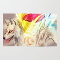 okami Area & Throw Rugs featuring White Light Majesty by Zulaya