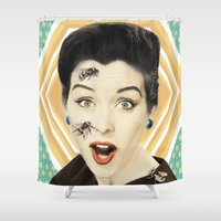 bees Shower Curtains featuring bees by Sloni