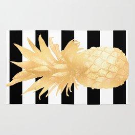 Gold Pineapple Black and White Stripes Rug