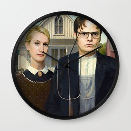 Dwight And Angela American Gothic Wall Clock