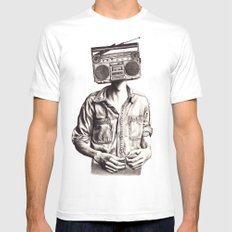 Radio-Head MEDIUM White Mens Fitted Tee