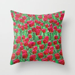 Tulip Love (red) Throw Pillow
