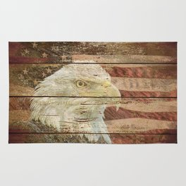 Rustic Bald Eagle Bird American Flag Patriotic Country Art A167 Rug