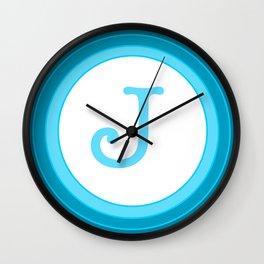 Blue letter J Wall Clock