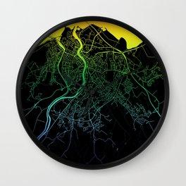 Inverness, Scotland, City, Map, Rainbow, Map, Art, Print Wall Clock