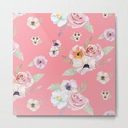Floral I - Pink Metal Print