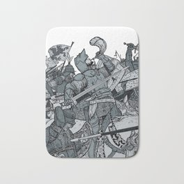 Saturday Knight Special STEEL BLUE / Vintage illustration redrawn and repurposed Bath Mat