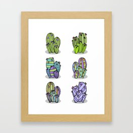 6 Striped Flowering Cacti Framed Art Print