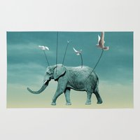elephant Area & Throw Rugs featuring elephant by mark ashkenazi