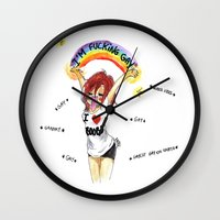 asexual Wall Clocks featuring I'M F*CKING GAY by Maryne.