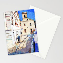 Borrello: foreshortening with man and church Stationery Cards
