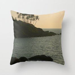 Palm Trees on the Point Palolem  Throw Pillow