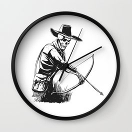 Cowboy skeleton with crossbow - black and white - gothic skull cartoon - ghost silhouette Wall Clock