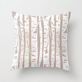 Woodcut Birches Throw Pillow