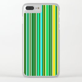 GREEN SPRING STRIPES Clear iPhone Case
