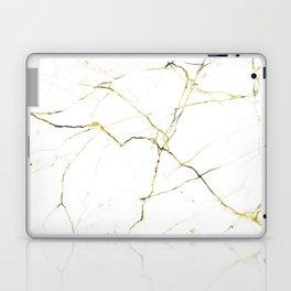 White & Gold Minimal Marble Laptop & iPad Skin