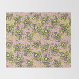 Slick Fish with Bubbles - Girly Pink Throw Blanket