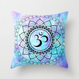 Om Mandala Pink Lavender Aqua galaxy space Throw Pillow