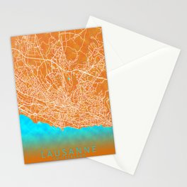 Lausanne, Switzerland, Gold, Blue, City, Map Stationery Cards