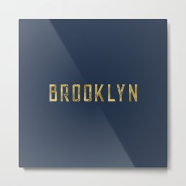Brooklyn in Gold on Navy Metal Print