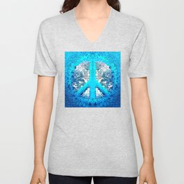 Abstract Blue Peace Sign Unisex V-Neck