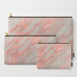 Marble Rose Gold White Marble Foil Shimmer Carry-All Pouch