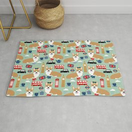 Welsh Corgi london england pattern cute corgis in britain dog breeds by pet friendly Rug