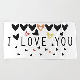 i love you Beach Towel