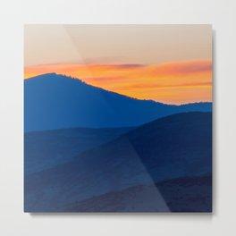 Utah Wasatch Mountains Park City Sunset Landscape Blue Orange Sky Metal Print