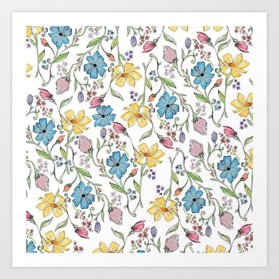 Spring flowers pattern - watercolor Art Print