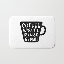 Coffee Write Rinse Repeat Bath Mat