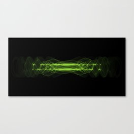 Plasma or high energy force concept. Green glowing energy waves on black Canvas Print