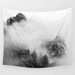 back and white mountains Wall Tapestry