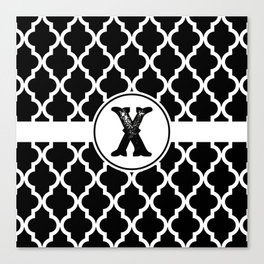 Black Monogram: Letter X Canvas Print