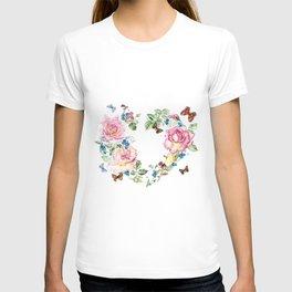 Watercolor Rose Heart Wreath T-shirt