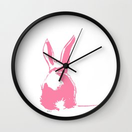Pink Easter bunny back Wall Clock