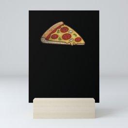 one slice of Salami Pizza Mini Art Print