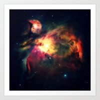 nebula Art Prints featuring Orion NEbula Dark & Colorful by 2sweet4words Designs