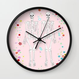 together forever pink background Wall Clock