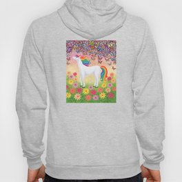 whimsy (rainbow unicorn), butterflies, African daisies Hoody