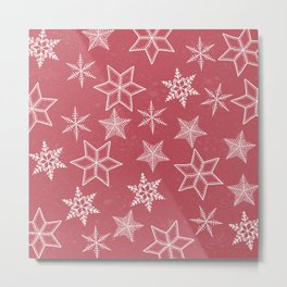 Snowflakes On Pastel Red Background Metal Print
