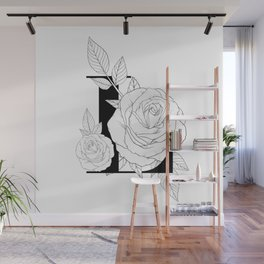 Monogram Letter L with Rose Line Art Wall Mural