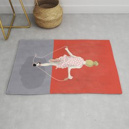 The little girl of the skipping rope Rug