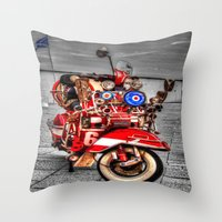 vespa Throw Pillows featuring Vespa by Doug McRae