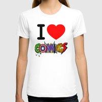 dc comics T-shirts featuring I LOVE COMICS by DeMoose_Art