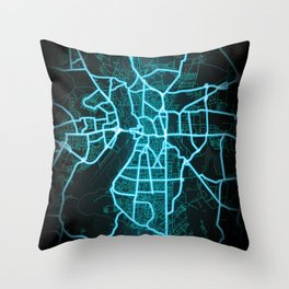 Halle, Germany, Blue, White, Neon, Glow, City, Map Throw Pillow