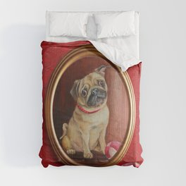 Pug on the damask Comforters
