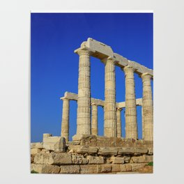 Temple of Poseidon in Sounion near Athens (Greece) Poster